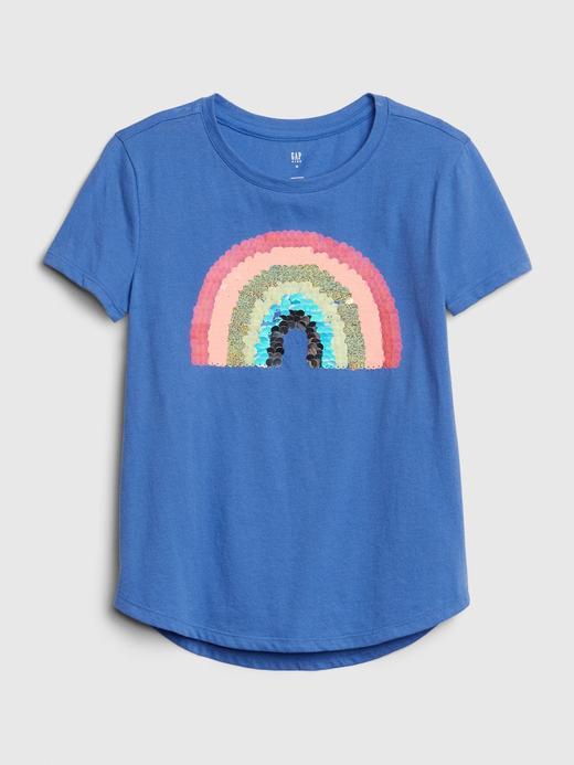 Kız Çocuk Mavi Grafik Interaktif Pullu T-Shirt