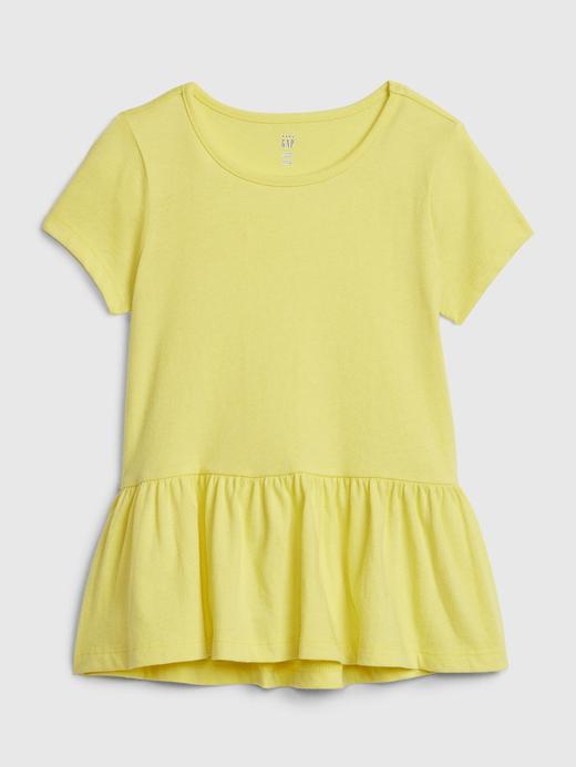 Kız Bebek Sarı Kısa Kollu Peplum Tunik