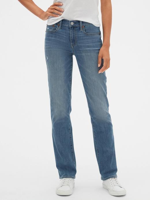 Kadın Mavi Mid Rise Classic Straight Jean Pantolon