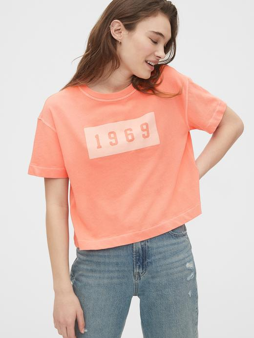 Kadın Pembe 1969 Premium Soft Gap Logo T-Shirt