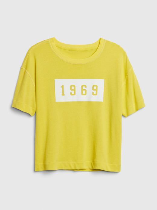 Kadın Sarı 1969 Premium Soft Gap Logo T-Shirt