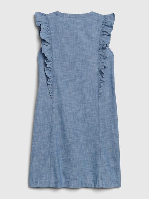 Kız Çocuk Mavi Fırfırlı Şambre Elbise