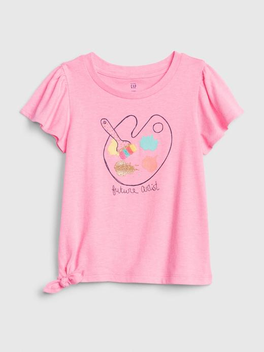 Kız Bebek Pembe Grafik Kısa Kollu T-Shirt