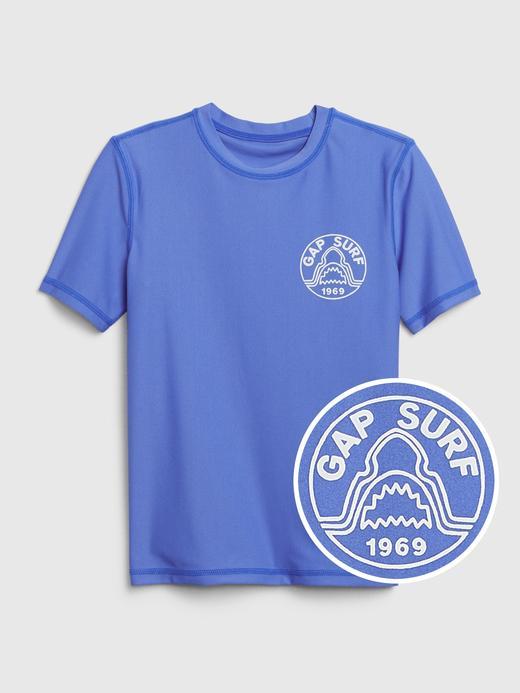 Erkek Çocuk Mavi Kısa Kollu RashGuard Mayo T-Shirt