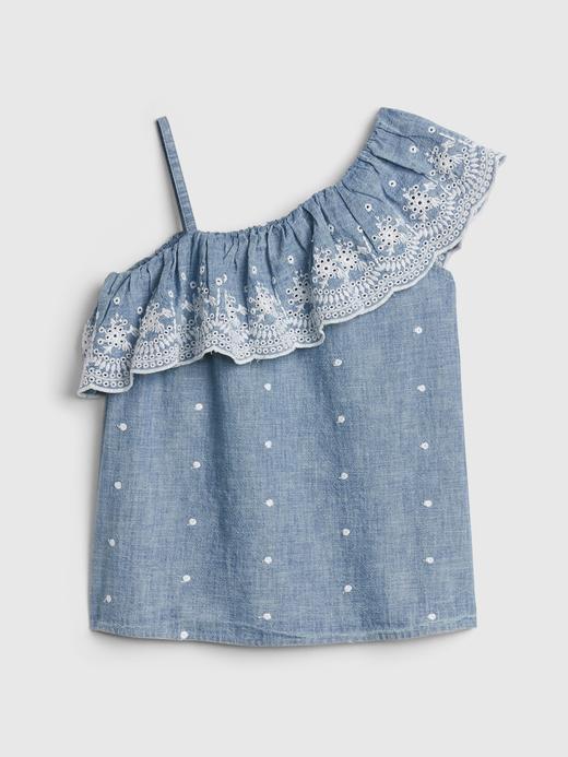 Kız Çocuk Mavi Fırfırlı Şambre Bluz