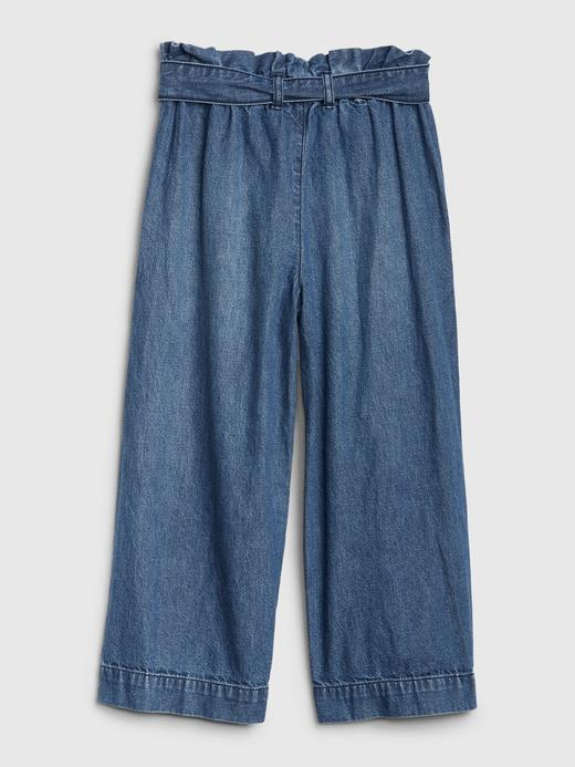 Kız Çocuk Mavi High Rise Wide-Leg Crop Jean Pantolon