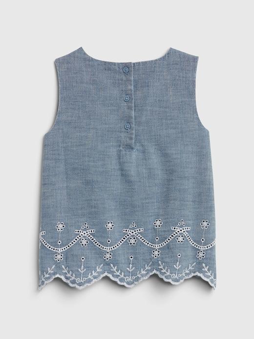 Kız Bebek Mavi Şambre Kolsuz Bluz
