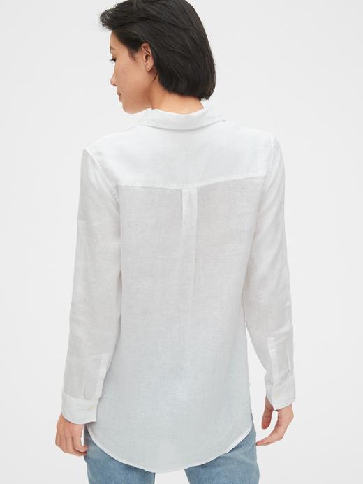 Kadın Beyaz Boyfriend Keten Gömlek