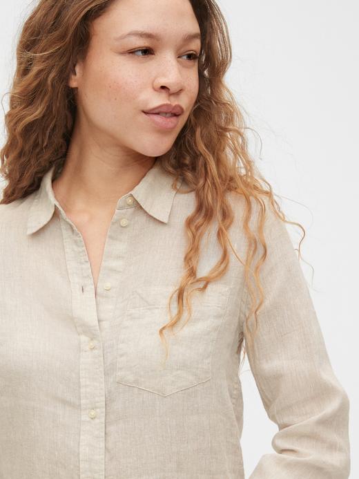 Kadın Bej Boyfriend Keten Gömlek