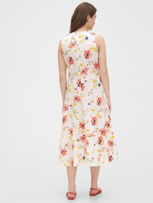 Kadın Bej Çİçek Desenli Midi Elbise