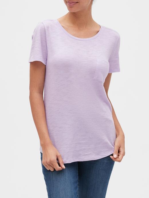 Kadın lila Yuvarlak Yaka Kısa Kollu T-Shirt