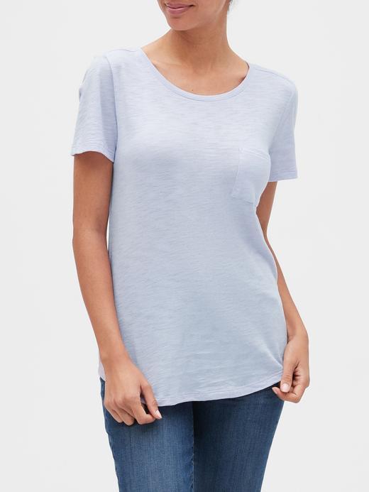 Kadın Mavi Yuvarlak Yaka Kısa Kollu T-Shirt