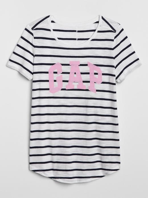 Kadın Beyaz Gap Logo Çizgili T-Shirt