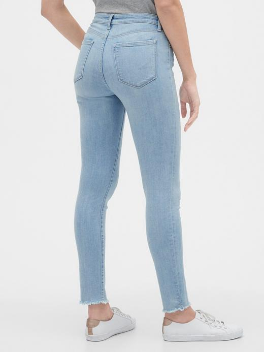 Kadın Mavi Mid Rise Legging Skimmer Jean Pantolon