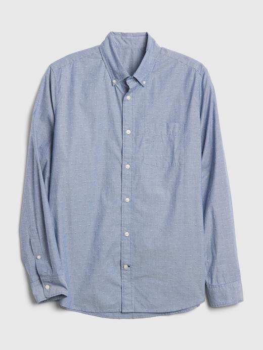 Erkek Mavi Desenli Poplin Gömlek