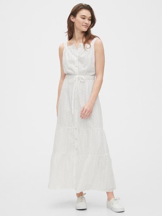 Kadın Beyaz TENCEL™ Düğmeli Maxi Elbise