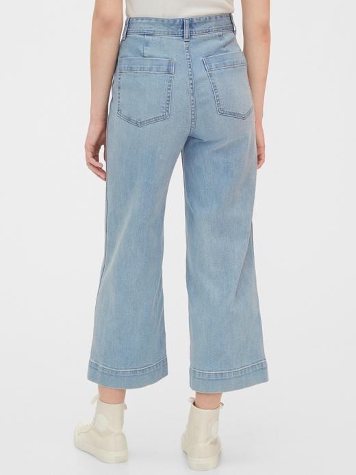 Kadın Mavi High Rise Wide Leg Crop Jean Pantolon
