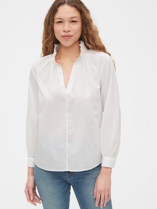 Kadın Beyaz V Yakalı Popover Bluz