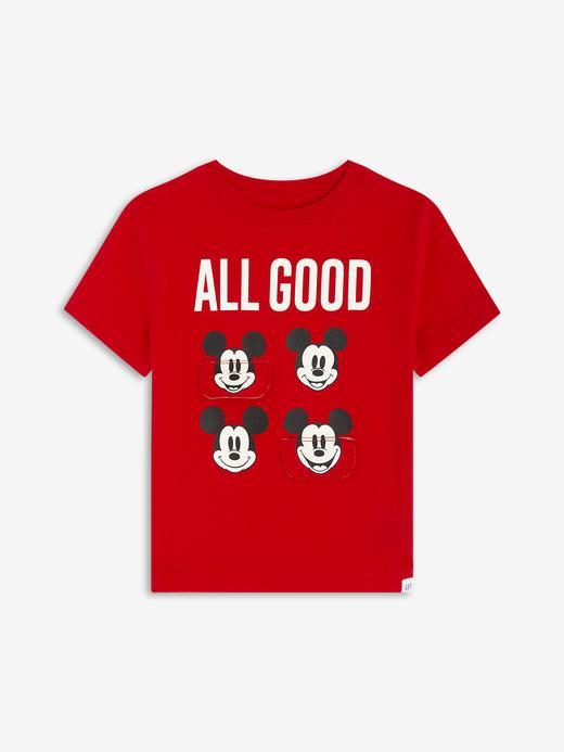 Erkek Bebek Kırmızı Disney Mickey Mouse 3D Grafik T-Shirt