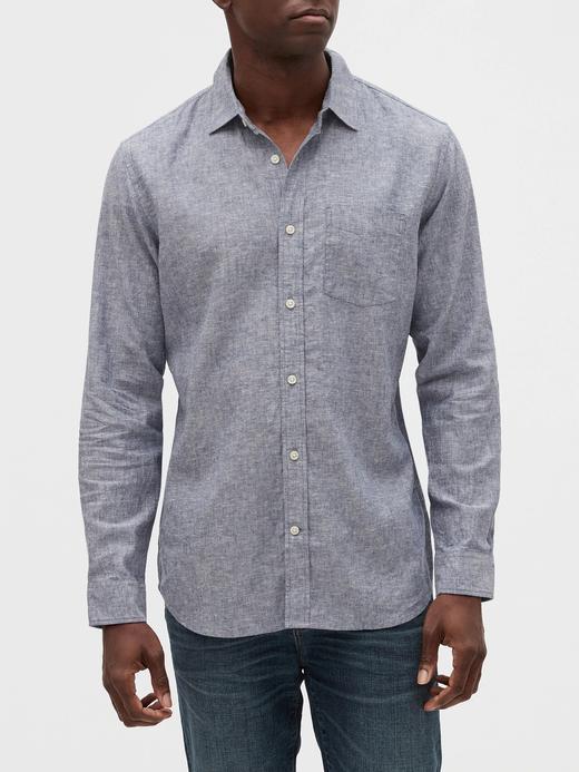 Erkek Mavi Uzun Kollu Keten Gömlek