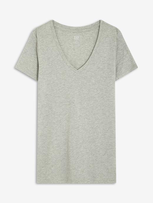 Kadın Gri Favorite V Yaka T-Shirt