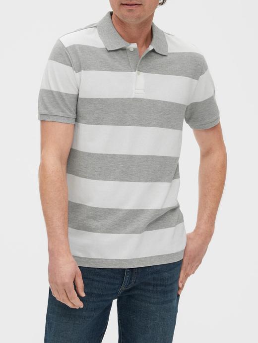 Erkek Gri Polo Yaka Çizgili T-Shirt