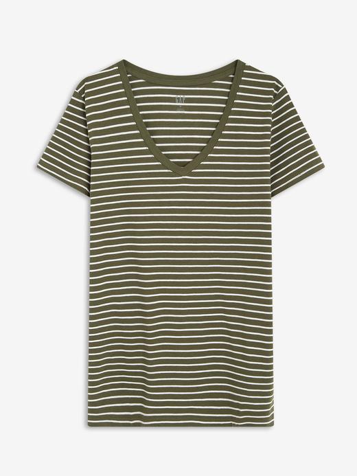 Kadın Yeşil Favorite Çizgili Kısa Kollu T-Shirt