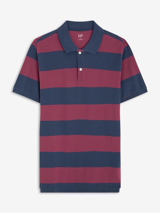 Erkek Kırmızı Polo Yaka Çizgili T-Shirt
