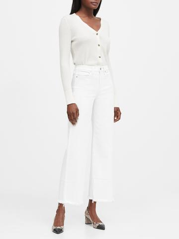 Kadın Beyaz High-Rise Wide-Leg Cropped Jean Pantolon