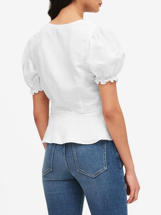 Kadın Beyaz Düğme Detaylı Peplum Bluz