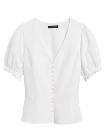 Kadın Lacivert Düğme Detaylı Peplum Bluz