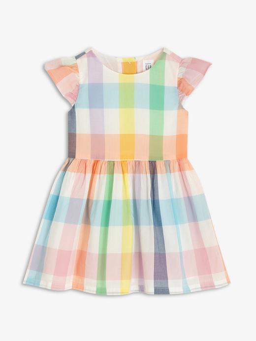 Kız Bebek Çok renkli Ekose Kısa Kollu Elbise