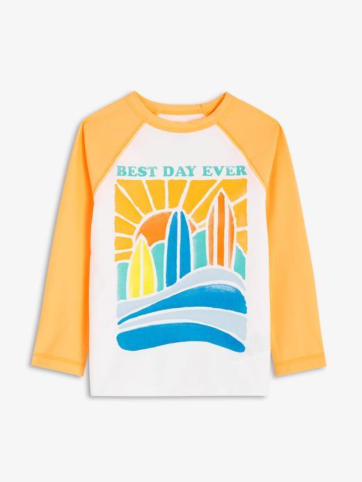 Erkek Bebek Turuncu Desenli Uzun Kollu Rashguard Mayo T-Shirt