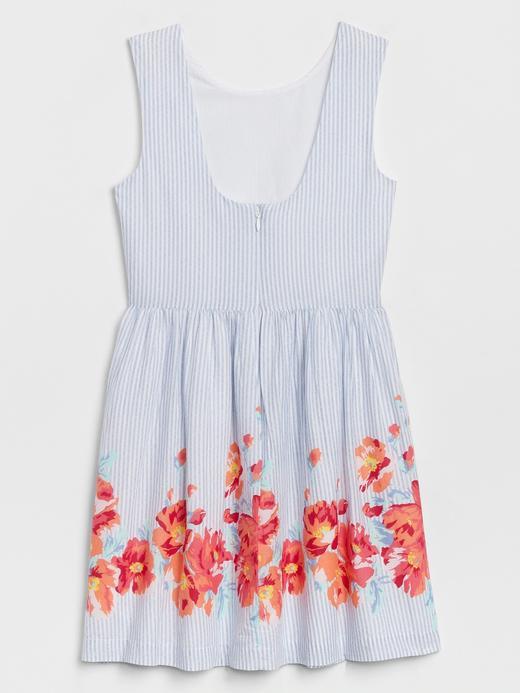 Kız Çocuk Beyaz Desenli Kolsuz Elbise