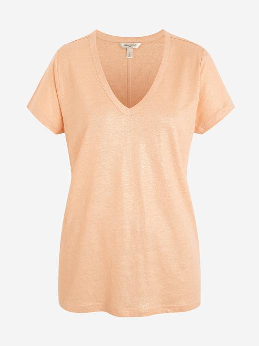 Kadın Turuncu V Yaka Keten T-Shirt