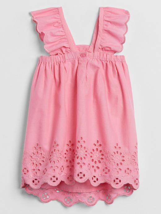 Kız Bebek Pembe Fırfırlı Askılı Elbise