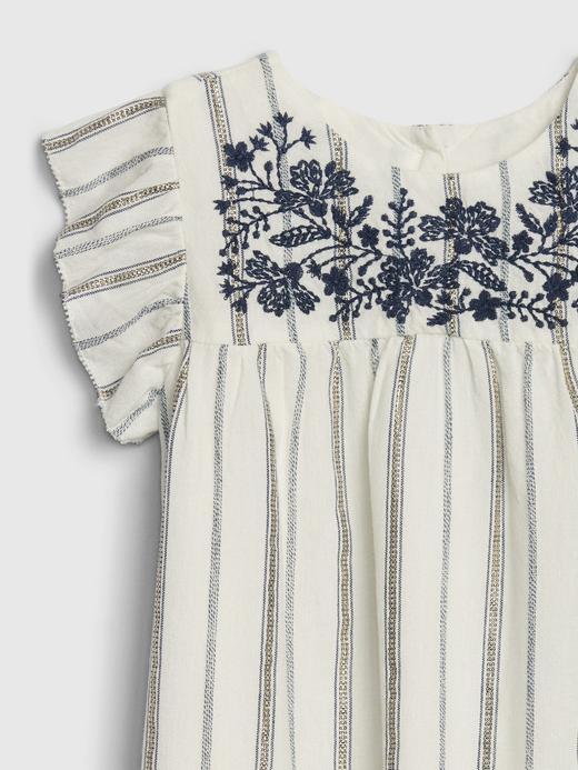Kız Bebek Mavi İşlemeli Çizgili Midi Elbise
