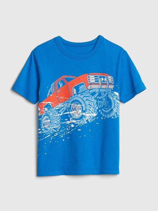 Erkek Bebek Mavi Grafik Desenli Kısa Kollu T-Shirt