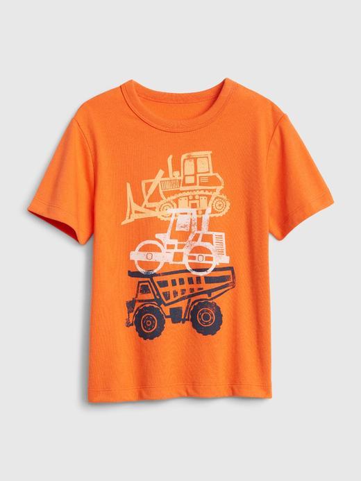 Erkek Bebek Turuncu Grafik Desenli Kısa Kollu T-Shirt