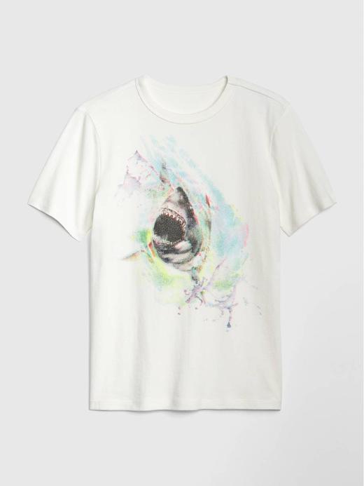 Erkek Çocuk kırık beyaz Kısa Kollu Grafik T-Shirt