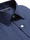 Erkek Lacivert Slim-Fit Ütü Gerektirmeyen Gömlek