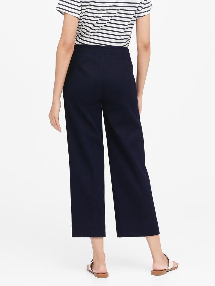 Kadın Lacivert Slim Wide-Leg Cropped Sailor Pantolon
