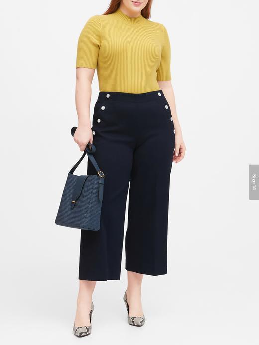 Kadın Lacivert Slim Wide-Leg Cropped Sailor Pantolon