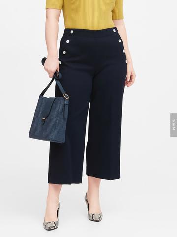 Kadın Beyaz Slim Wide-Leg Cropped Sailor Pantolon