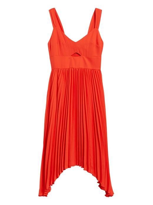 Kadın Kırmızı Pliseli Midi Elbise