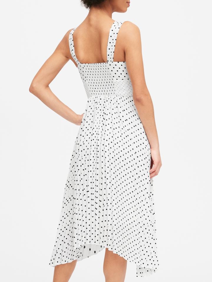Kadın Beyaz Puantiyeli Midi Elbise