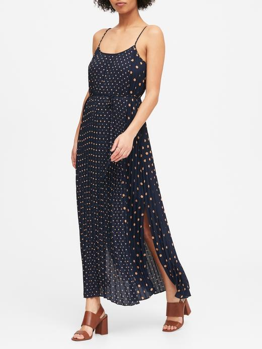 Kadın Lacivert Puantiyeli Maxi Elbise
