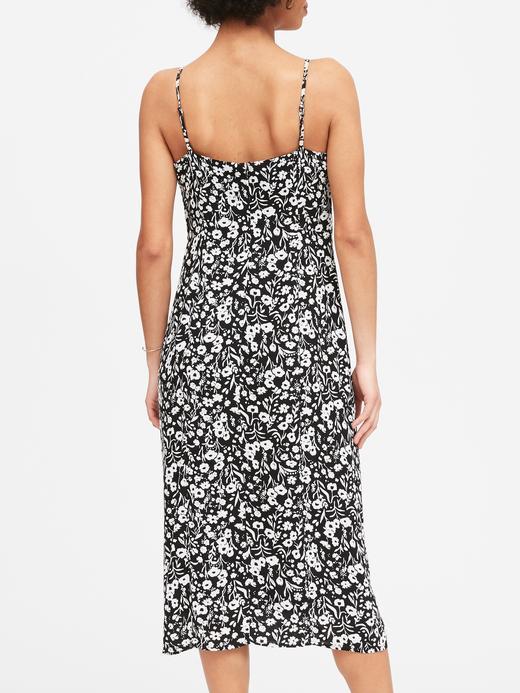 Kadın Siyah EcoVero™ Kare Yaka Midi Elbise