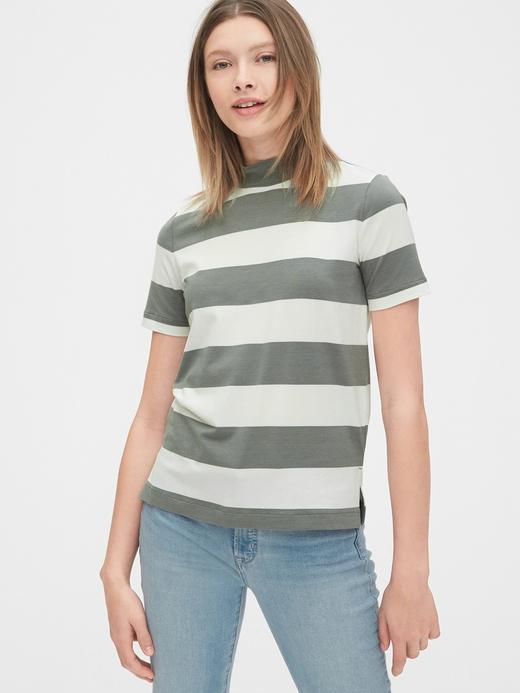 Kadın Yeşil Yarım Balıkçı Yaka Çizgili T-Shirt