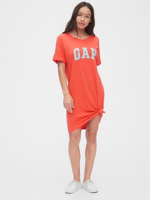 Kadın Pembe Gap Logo Kısa Kollu Elbise
